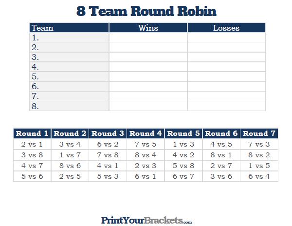 8 team round robin printable tournament bracket. Black Bedroom Furniture Sets. Home Design Ideas