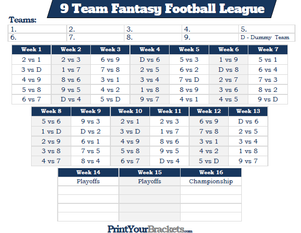 printable 9 team fantasy football league schedule
