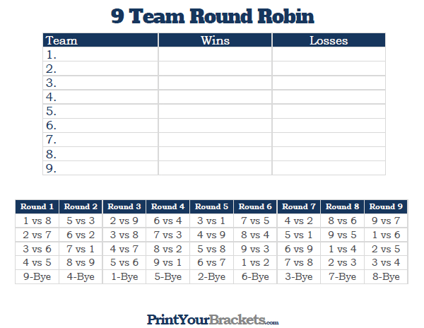 9 Team Round Robin Printable Tournament Bracket