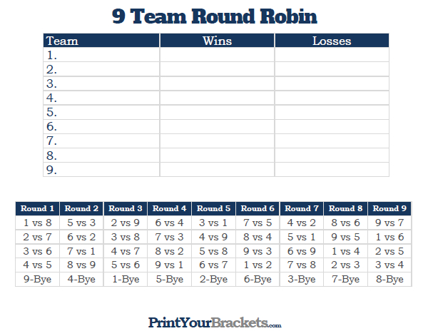 Printable 9 team round robin tournament bracket