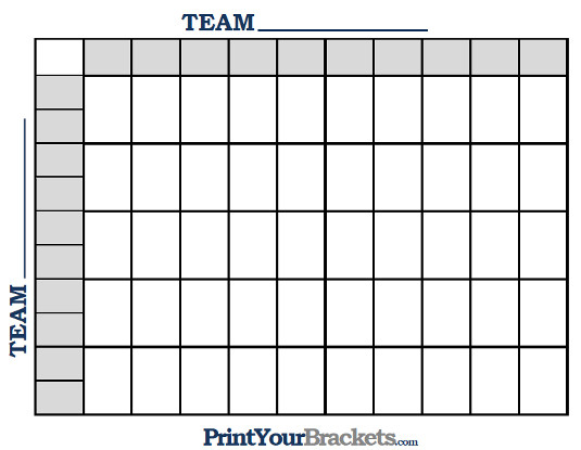 Printable NBA 50 Square Grid Office Pool Basketball