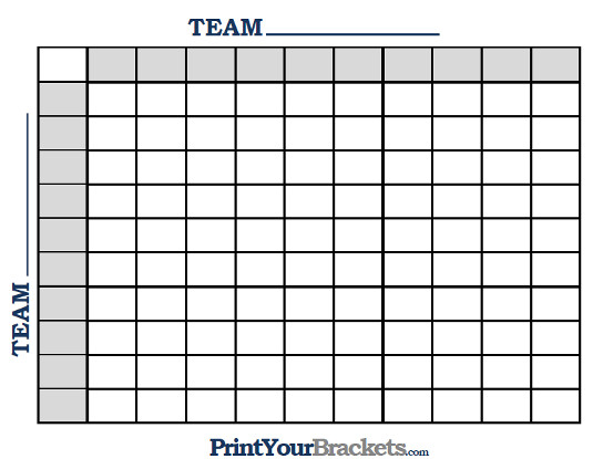 Printable NBA Squares Office Pool 100 Box Grid