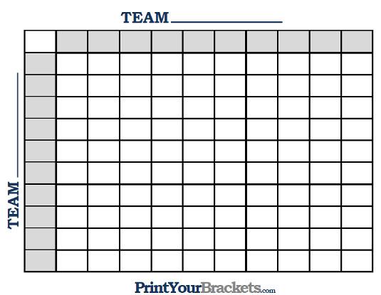 Printable Ncaa Football BCS Squares 100 Grid Office Pool