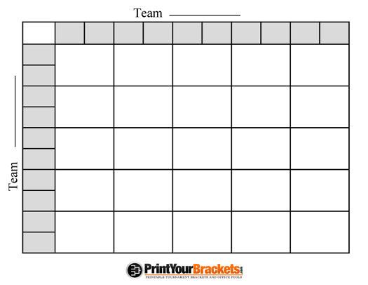 Printable NCAA 25 Square Grid Office Pool Basketball