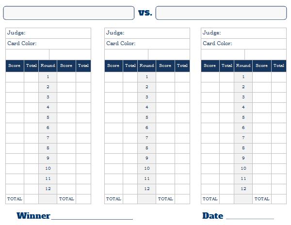 graphic relating to Printable Scorecard known as Printable Boxing Scorecard - Boxing Scoresheet