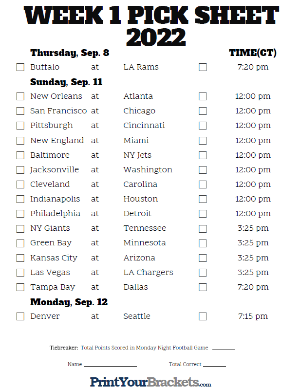 It's just a picture of Transformative Printable One Page Nfl Schedule 2020