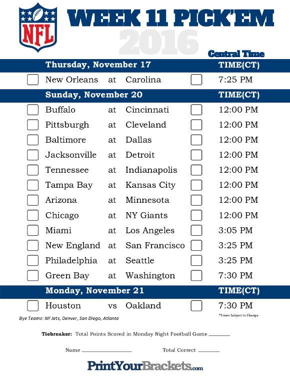 nfl game pick week 11 nfl schedule