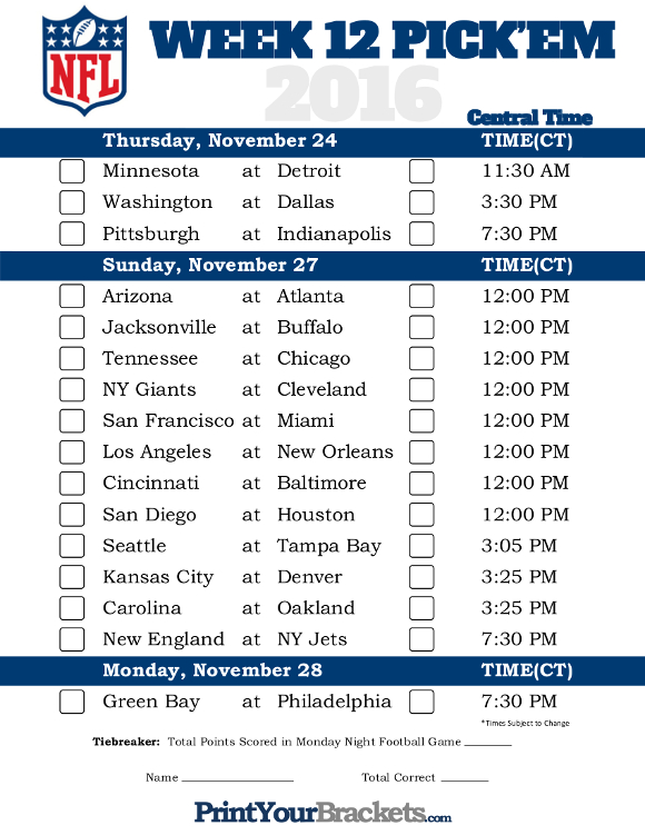 Central Time Week 12 NFL Schedule 2016 - Printable