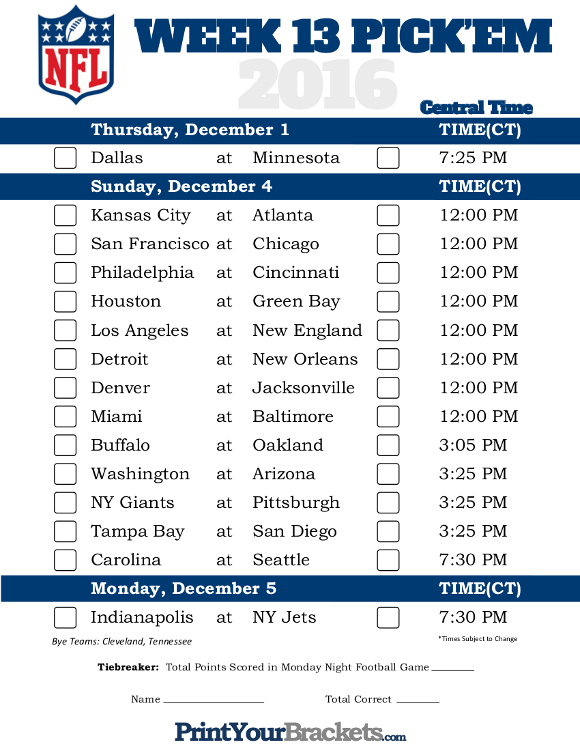 Central Time Week 13 NFL Schedule 2016 - Printable