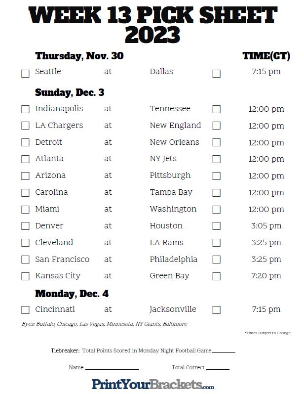 nfl combine schedule nfl week 13 vegas lines