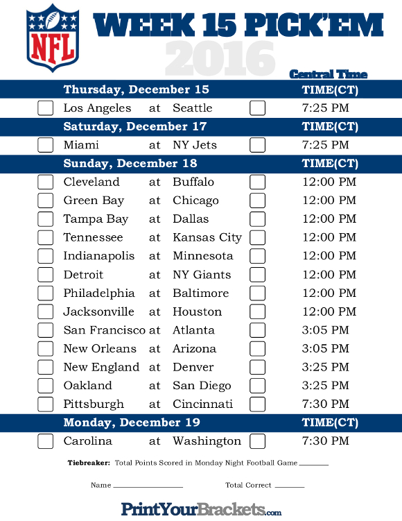 Central Time Week 15 NFL Schedule 2016 - Printable