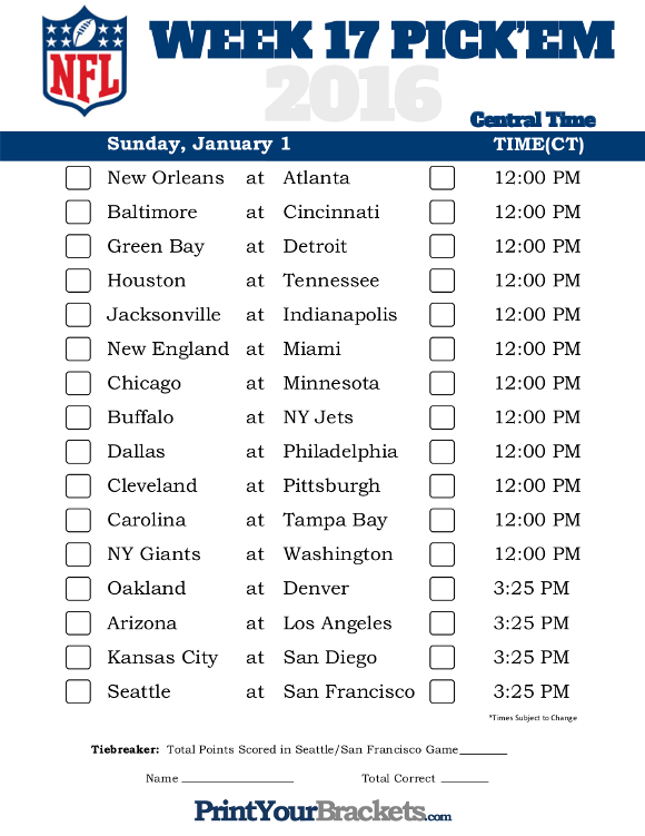 Clever image with regard to nfl schedule week 16 printable