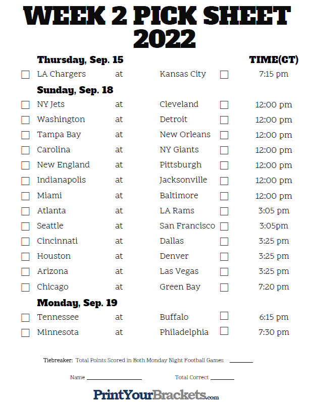 It's just a graphic of Clever Nfl Weekly Schedule Printable