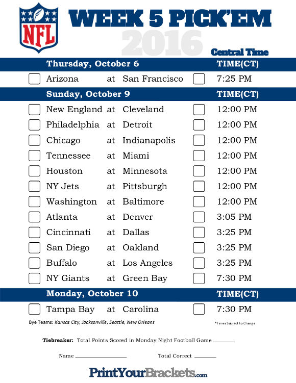 football game on now week 5 football schedule