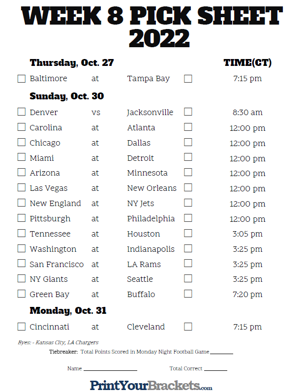 It's just a photo of Amazing Nfl Weekly Schedule Printable
