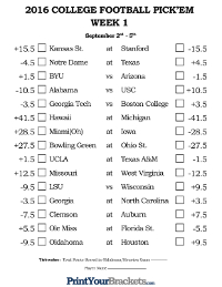 College Football Pick Em Sheets