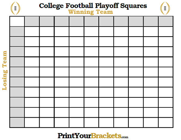College Football Playoffs Square Grid Office Pool