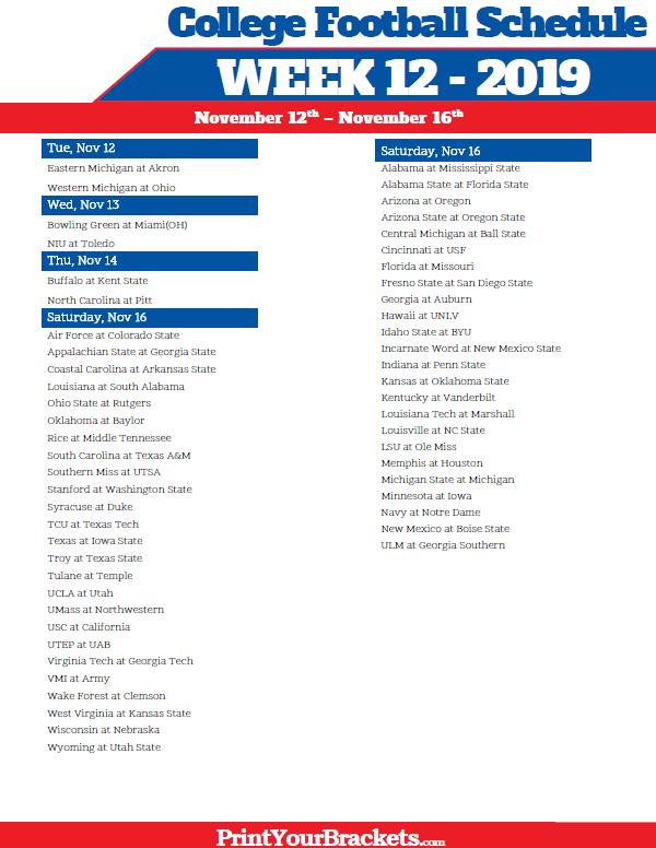 Printable Week 12 College Football Schedule 2016