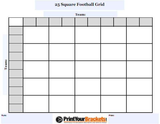 Customizable 25 Square Football Grid - Customize Your 25 Square Pool
