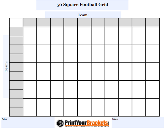 Customizable 50 Square Football Grid - Customize Your 50 Square Pool