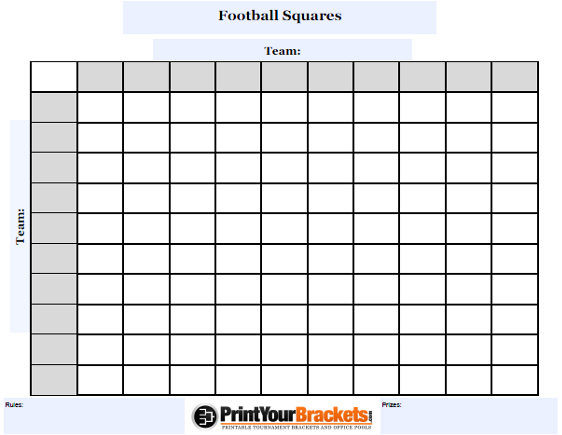 Customizable Football Squares