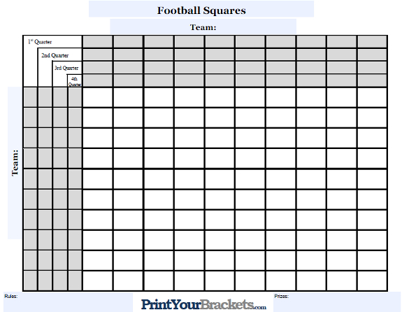 Customizable Football Squares Customize Your Square Grid