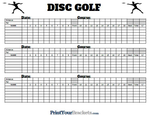 Printable Disc Golf Scorecards - Frisbee Scoresheets