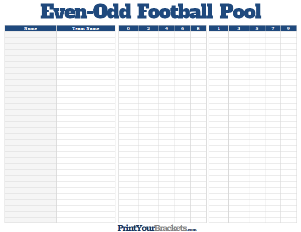 Even Odd Football Pool