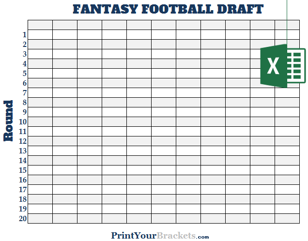 Excel 11 Team Fantasy Football Draft Board
