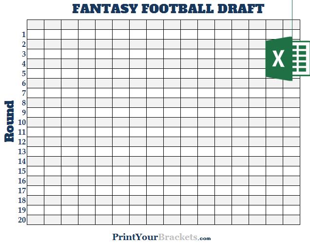 excel 16 team fantasy football draft board