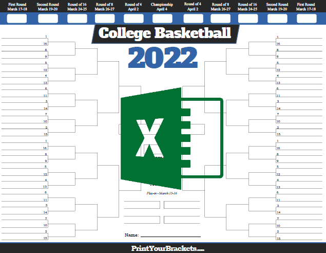 photo about Printable March Madness Bracket called Excel Template NCAA March Insanity Bracket 2019