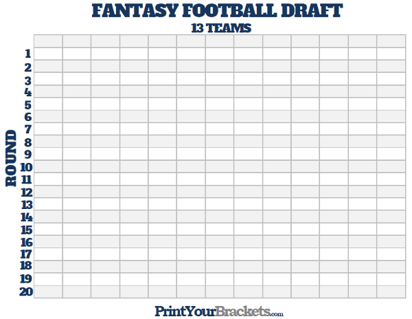 Printable 13 Team Fantasy Football Draft Board