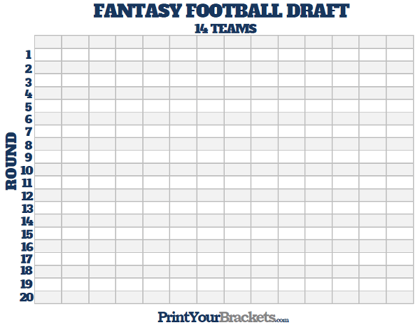 Printable 14 Team Fantasy Football Draft Board