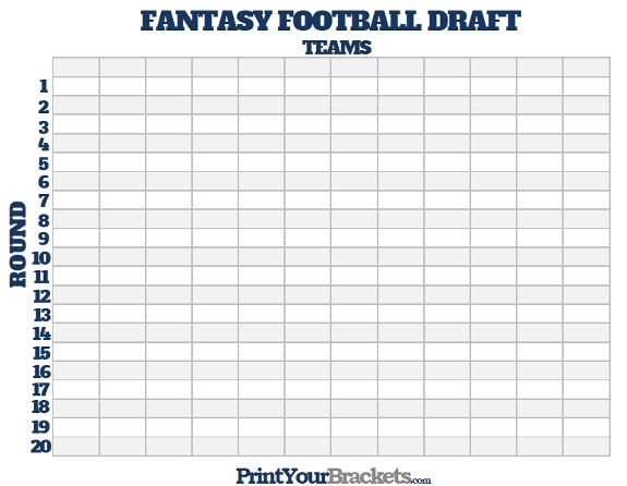 Printable Fantasy Football Draft Board  Blank Roster Sheet