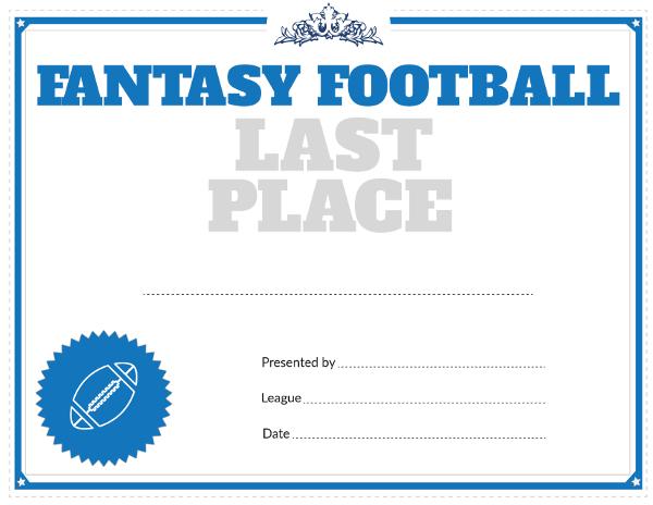 printable fantasy football last place award certificate