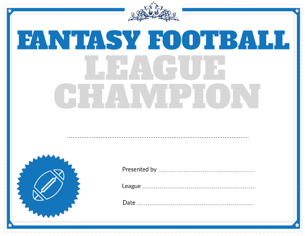 printable fantasy football league champion award certificate