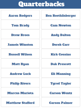 Fantasy Football Quarterback Player Labels for Draft Board