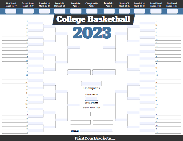Fillable NCAA Tournament Bracket