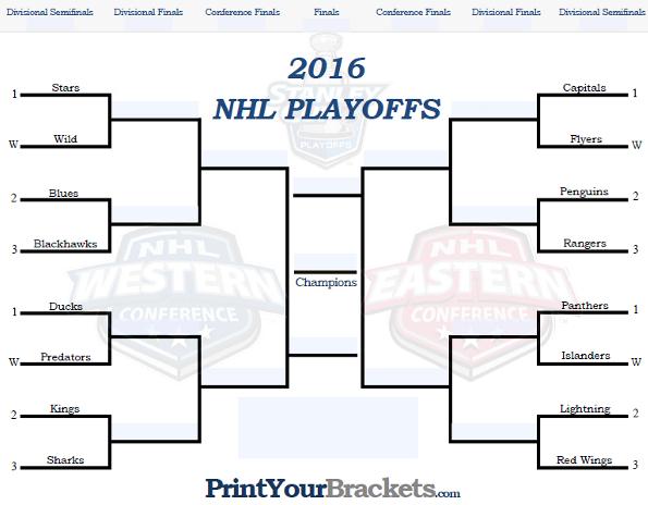 Fillable NHL Playoff Bracket - Editable 2017 NHL Bracket