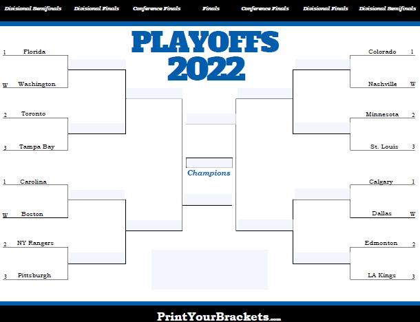 Fillable NHL Playoff Bracket