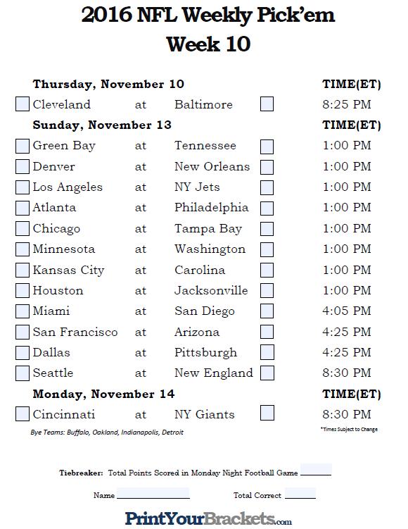 Fillable Week 10 NFL Pick'em Sheet - 2016