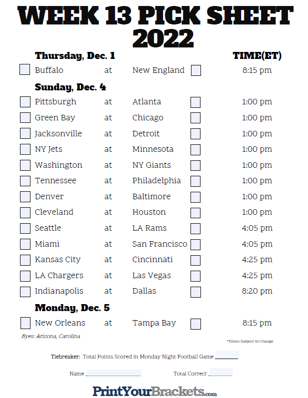 Fillable Week 13 NFL Pick'em Sheet