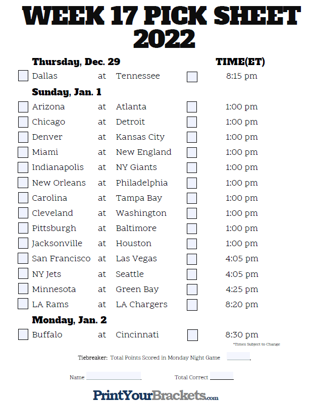 It's just a picture of Refreshing Nfl Week 17 Schedule Printable