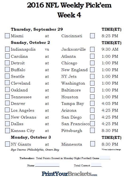 printable weekly football schedule calendar template 2016