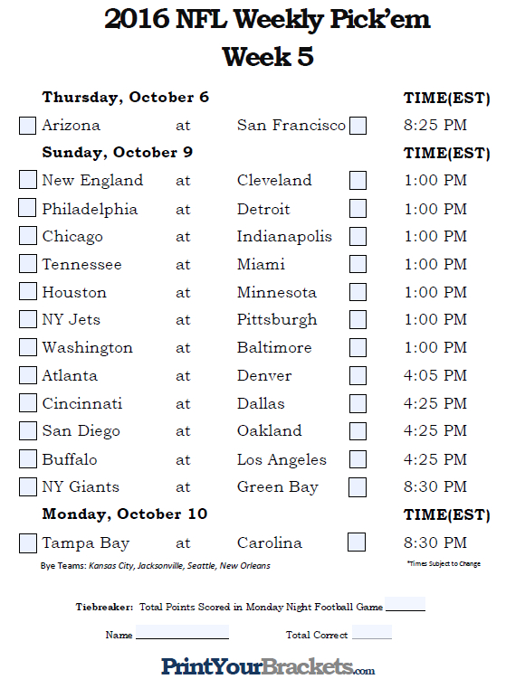 Insane image for college football pick'em printable sheets