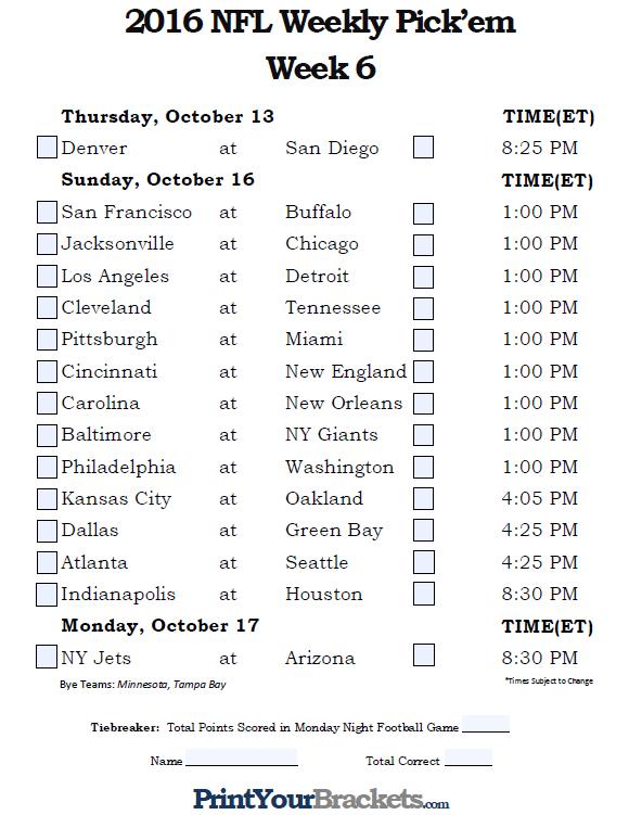 Week 6 NFL picks, predictions