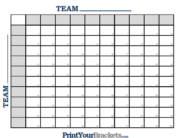 football squares numbered 1 through 100