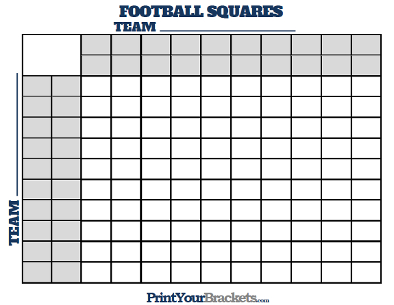 Football squares with halftime lines printable version for Printable super bowl block pool template