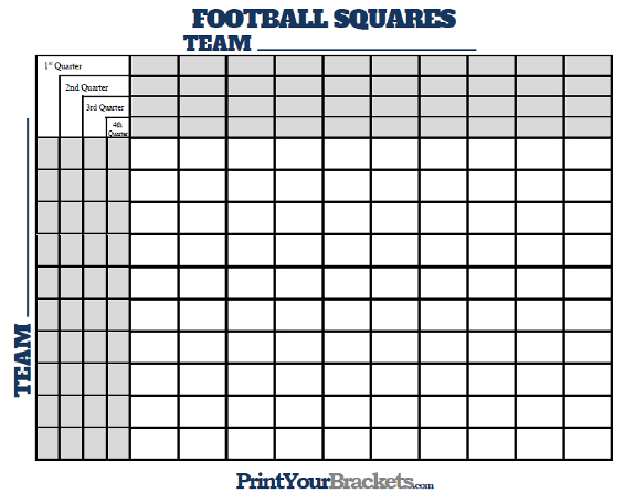 Football Squares With Quarter Lines - Printable Version