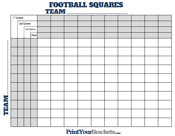 Football Squares With Quarter Lines Printable Version